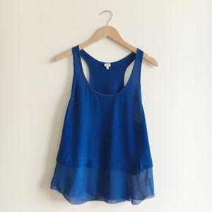 Aritzia Wilfred Cobalt Blue Silk Tank Top